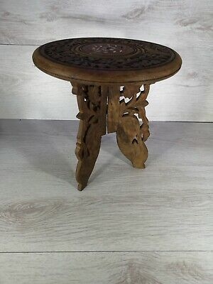 """Indian Teak Wood Hand Carved Three Leg Small Stool Side Table Plant Stand 9"""""""