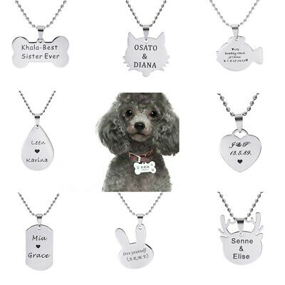 Personalized Custom Engraved  Pet Tag ID Dog Cat Name Birthday  Necklace Chain