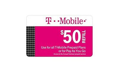 T-Mobile $50 Prepaid Refill Card, Air Time Top-Up/Pin RECHARGE (Direct)