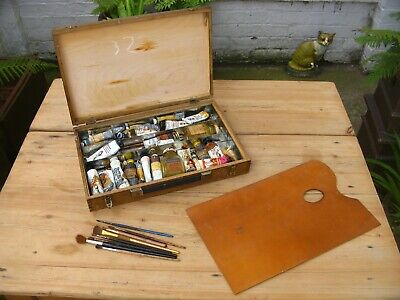 Vintage Artists Oil Painting Box Paints Brushes Large