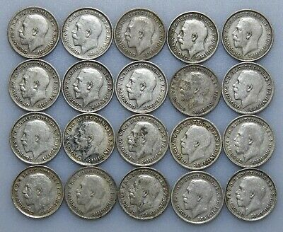 20 GB George V threepence coins 1911-1919