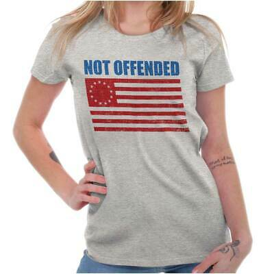 Not Offended Patriotic Betsy Ross USA Flag Womens Tees Shirts Ladies Tshirts