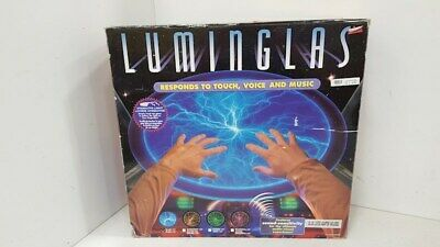 """NEW LUMINGLAS 16"""" Blue Plasma Light Glass Plate - Touch, Voice & Music Activated"""