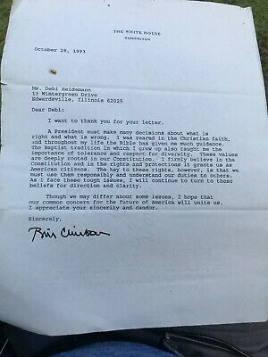 Typed Ironic Letter To Voter 1993 On White House Stationary. B212