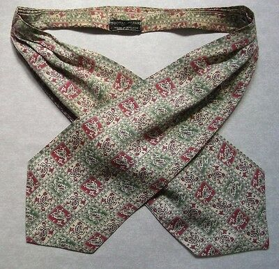 Ascot Cravat Tootal Vintage Mens 1960s 1970s MOD Retro CREAM RED GREEN PAISLEY