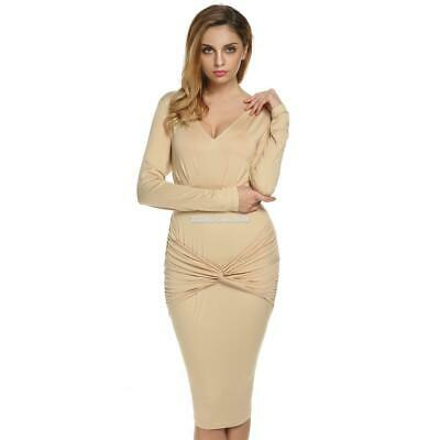 Finejo Frauen Lady Langarm tiefe V Neck hohe Taille Sexy Bodycon Solid ElR8 02