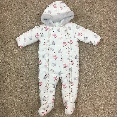 White Ruffle Pram Suit All In One Snow Frill Autumn Winter Animals 9-12 Months