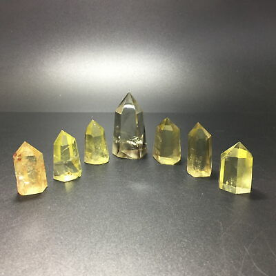 Lot 7 PCS SEVEN Smokey Citrine Quartz Obelisk Yellow Crystal Wand Point Healing