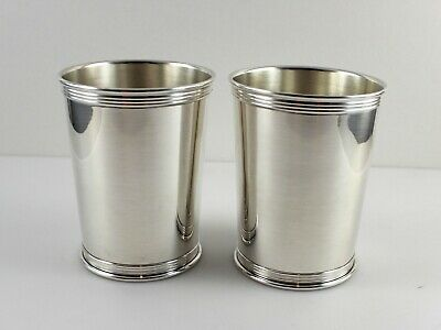 """Lunt 3759 Sterling Silver Mint Julep Cups - 3 3/4"""" - Set of 2 -  No Monogram"""