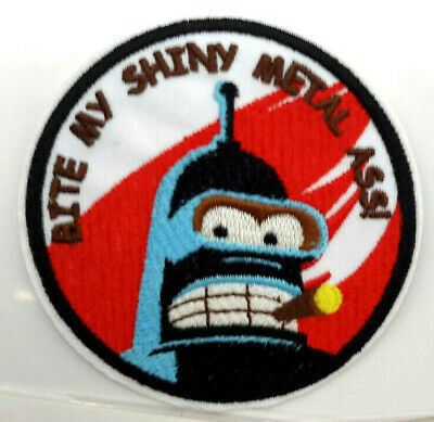 "Futurama TV Series 3.5"" Patch- Bender Bite My Shiny Metal A**!  USA Mailed"