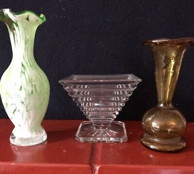 3 Vintage Glass Flower Vases - 2 Victorian- 1 Art Deco