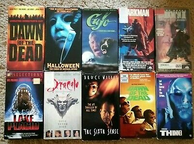 LOT OF 10 Horror VHS Tapes - 1980s 1990s Rare Cult Movies Videos