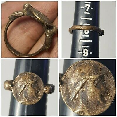 Greek antique coin bronze ring very nice bronze ring