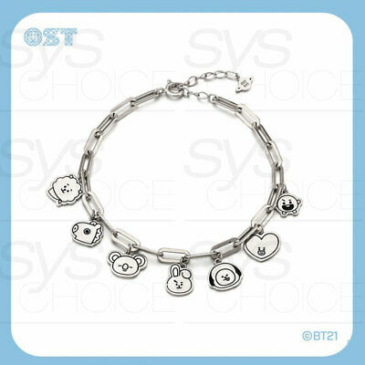 BTS BT21 Official Authentic Goods Silver Coin Bracelet by OST + Tracking Number