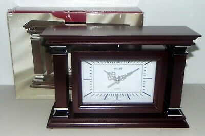 """WALLACE Wooden Spinning Mantle Clock with  6""""x4""""  Photo Frame Mahogany Finish"""