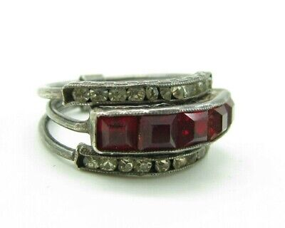 Art Deco H&SO STERLING SILVER Vtg Stacking Ring RUBY RED &CLEAR PASTE STONES 5.5