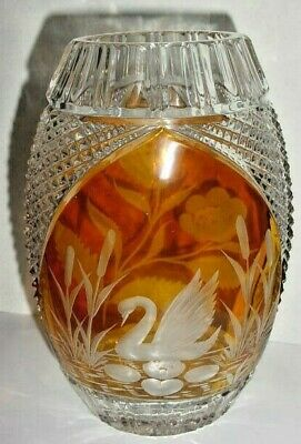 """LEAD CRYSTAL (24%) Clear/Amber Etched  Vase by """"JULIA""""  -  Poland"""