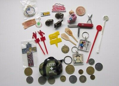 Junk Drawer Finds:  3 Bone China Dogs; Magnets; Keychains; Small Pocket Knife