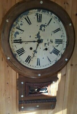 Antique Mahogay Wall Clock with mother of pearl for spares or repair