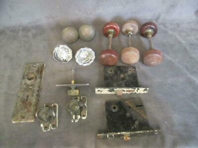 Antique Hardware Lot - Wooden Bronze Glass Door Knobs - Mortise Locks Plus   chs