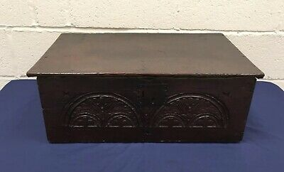 Antique 17th Century Oak Carved Bible Box