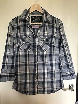 Womens superdry blue check shirt - size M