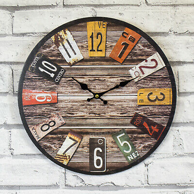 34cm Wooden Quartz Wall Clock Large Kitchen Office Home Shabby Chic Rustic Decor