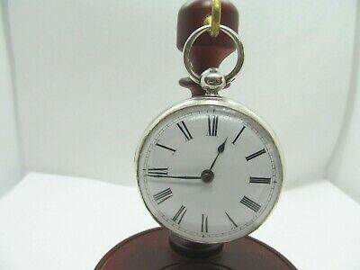 1844 Rare English fusee Cylinder pocket watch solid silver good condition workin