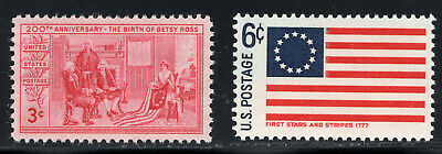 VINTAGE US POSTAGE STAMP MINT BETSY ROSS WITH STARS AND STRIPES FLAG