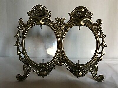 Superb Antique French Brass Easel Double Picture / Photo Frame