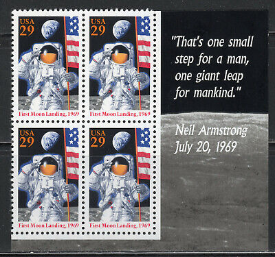 First Moon Landing ** 1969 Apollo 11 * Us Postage Block Of 4 Mint * With Quote