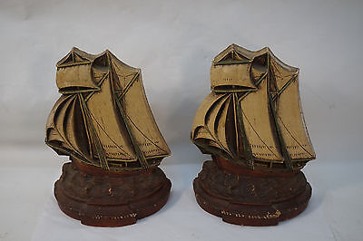 Vintage Bookends Syroco Sail Boats Sailing Ships Schooners Book Ends Pair Old