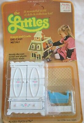 Vintage The Littles Diecast Doll House Furniture Armoir & Cradle -UNOPENED