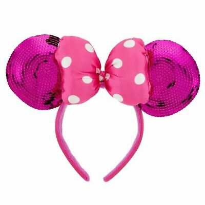 Authentic Disney Parks Hot Pink Bow & Sequin Minnie Mouse/Mickey Mouse Ears