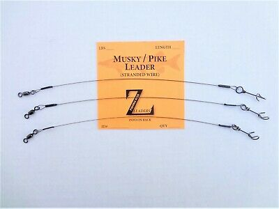 MUSKY SELECT SIZE PIKE SOLID WIRE FASTACH CLIP LEADERS MUSKIE LURE BAIT 3