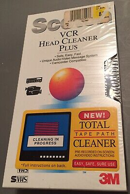 scotch vcr head cleaner plus for vhs / s-vhs total tape path cleaner new