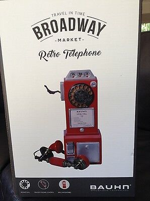 Brand New In Box Vintage Retro Telephone Red- Works