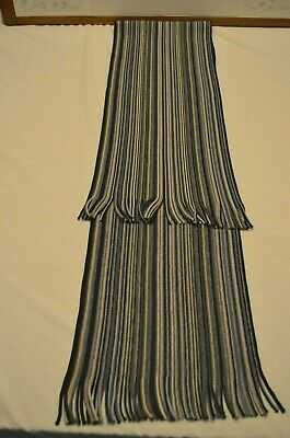 Striped Shades of Brown/Blue/Gray Polyester Unisex Neck Scarf--Fringes at Ends