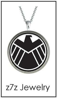 """AGENTS of SHIELD Emblem Necklace - small logo steel eagle pendant 24"""""""