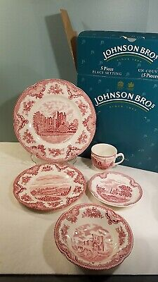Johnson Bros OLD BRITAIN CASTLE pink 5 pc PLACE SETTING dinner salad bowl cup