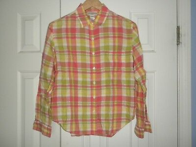 Ladies PM Jones New York Blouse Pink & Green plaid Linen Petite M Roll Tab Sleev
