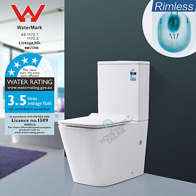 Rimless Toilet Suite Washdown Wall Face P S trap Ceramic WELS WATERMARK Bathroom
