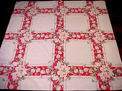 Vintage COTTAGE FLORAL Printed Tablecloth MORNING GLORY Peony Red Details PRETTY