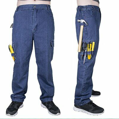 Mens Cargo Work Pants Trousers Straight Leg Durable Cotton Pockets Workwear Blue