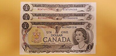 3 Canadian crisp choice uncirculated 1973 One Dollar with different BC prefexes