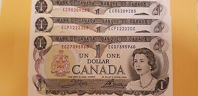 3 Canadian crisp choice uncirculated 1973 One Dollar with different EC prefexes