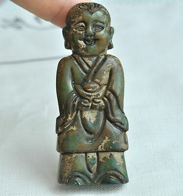 Chinese ancient old hard jade hand-carved pendant necklace ~Boy  M52