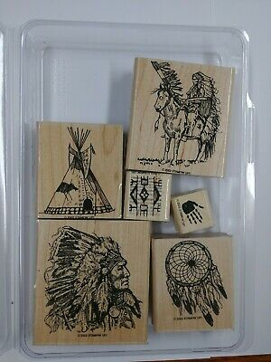 Native American INDIAN CHIEF TEEPEE HORSE DREAM CATCHER STAMPIN UP RARE stamps