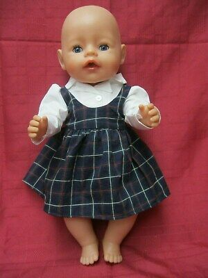 """BABY BORN ZAPF CREATIONS  41cm (16"""") DOLL WITH OPEN CLOSE BLUE EYES DRESSED"""