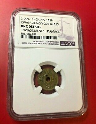 China 1909-11 Monedas Kwangtung Y-204 Latón NGC UNC Details